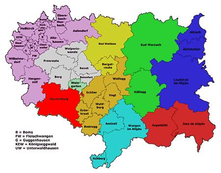 Landkreis Ravensburg Karte mit Ortsnamen klein